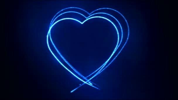 Zeichnung Herz Form Bewegung Hintergrund Animation - Schleife blau