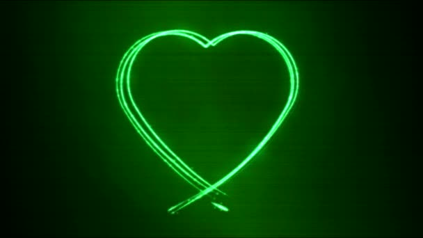 Drawing Heart Shape Motion Background Animation - Loop Green