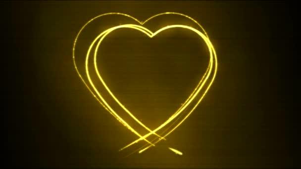 Animace pohybu pozadí tvaru srdce výkresu - žlutá smyčka