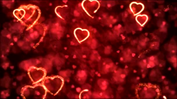 Drawing Heart Shapes Motion Background Animation - Loop Red