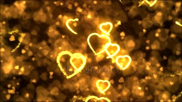Rajz szív alakú Motion animáció háttér - Loop-aranysárga
