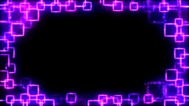 Náměstí výkresu obrazce na černém pozadí animace - Loop fialová