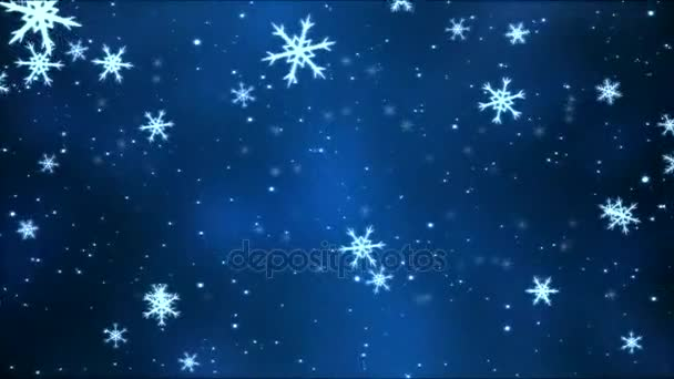 Moving through Colorful Rotating Snowflakes - Loop Blue