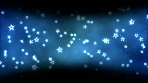 Barevné tmavé ohraničení animace s hvězdy tvarů - Loop modrá