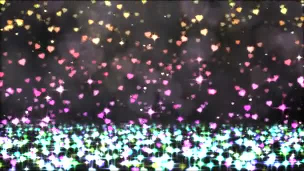 Colorful Sparkling Heart Shapes Falling Down - Loop Rainbow