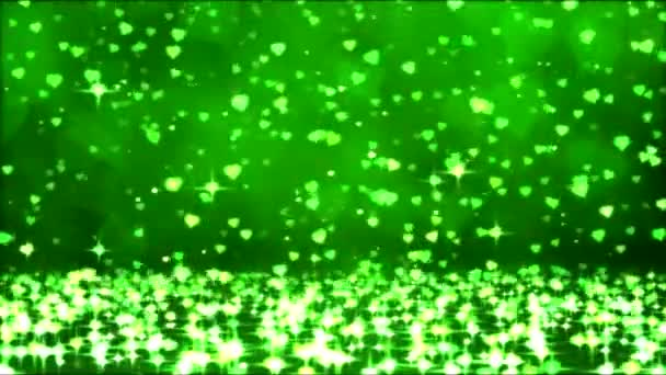 Colorful Sparkling Heart Shapes Falling Down - Loop Green