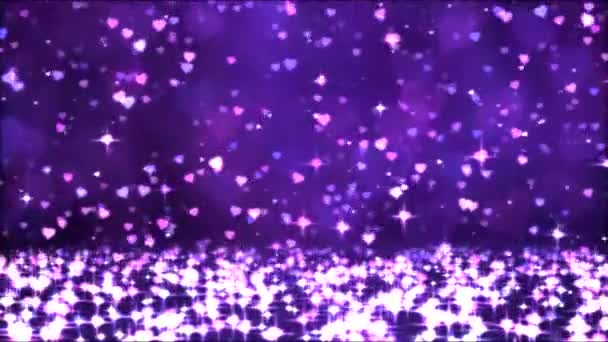 Colorful Sparkling Heart Shapes Falling Down - Loop Purple