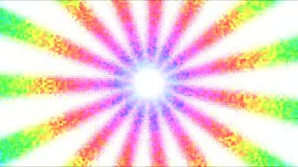 Abstraktní tečkované rotující proužky pozadí animace - smyčky duha