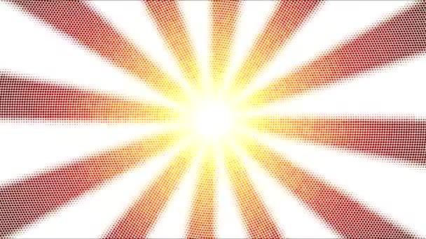 Abstraktní tečkované pozadí animace otáčení pruhy - Loop ohnivě oranžová