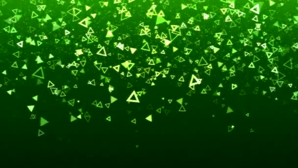 Colorful Falling Triangle Shapes Animation - Loop Green
