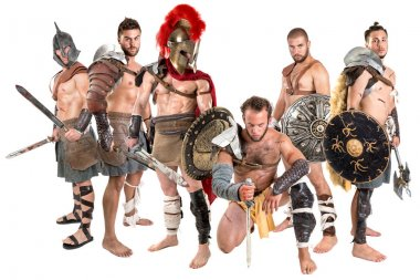 Group of gladiators posing isolated in white stock vector