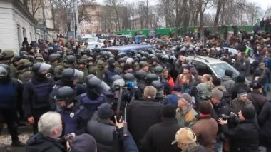 Ukraine. Kiev. December 5, 2017. people rebel against power. Collisions of people with the police. Protest against the detention of Saakashvili
