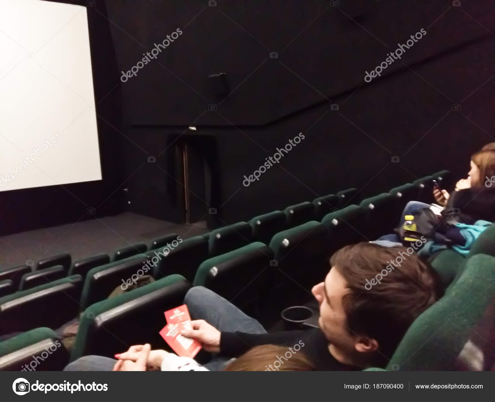 Cinema White Screen With Seats And People Silhouettes Stock Editorial Photo C Shapicingvar 187090400