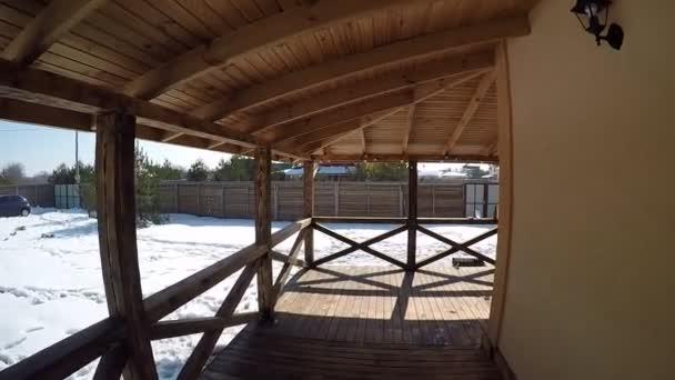 Terrazza Legno Nel Cottage Con Vista Gli Alberi Pino Inverno Video