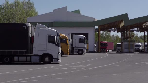 Europe, state border Ukraine - Slovakia, customs post in Tisa, May 2020: Truck at the customs post during the Covid-19 coronavirus pandemic. Trucker crosses the border. Closed borders. Buried border
