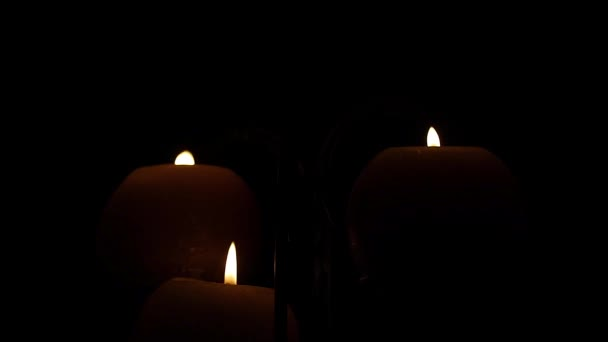 candle fire in the dark closeup