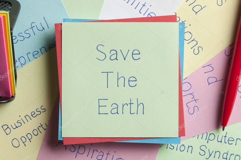 Save The Earth written on a note