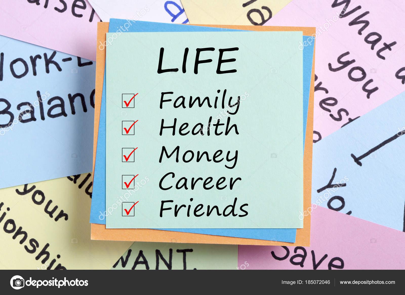 Familie Gesundheit Geld Karriere und Freunde Lebenskonzept ...