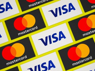 May 22, 2020, Brazil. In this photo illustration cards with the logos of MasterCard and Visa. stock vector