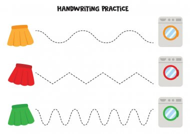Tracing lines with skirts and washing machines. Handwriting prac