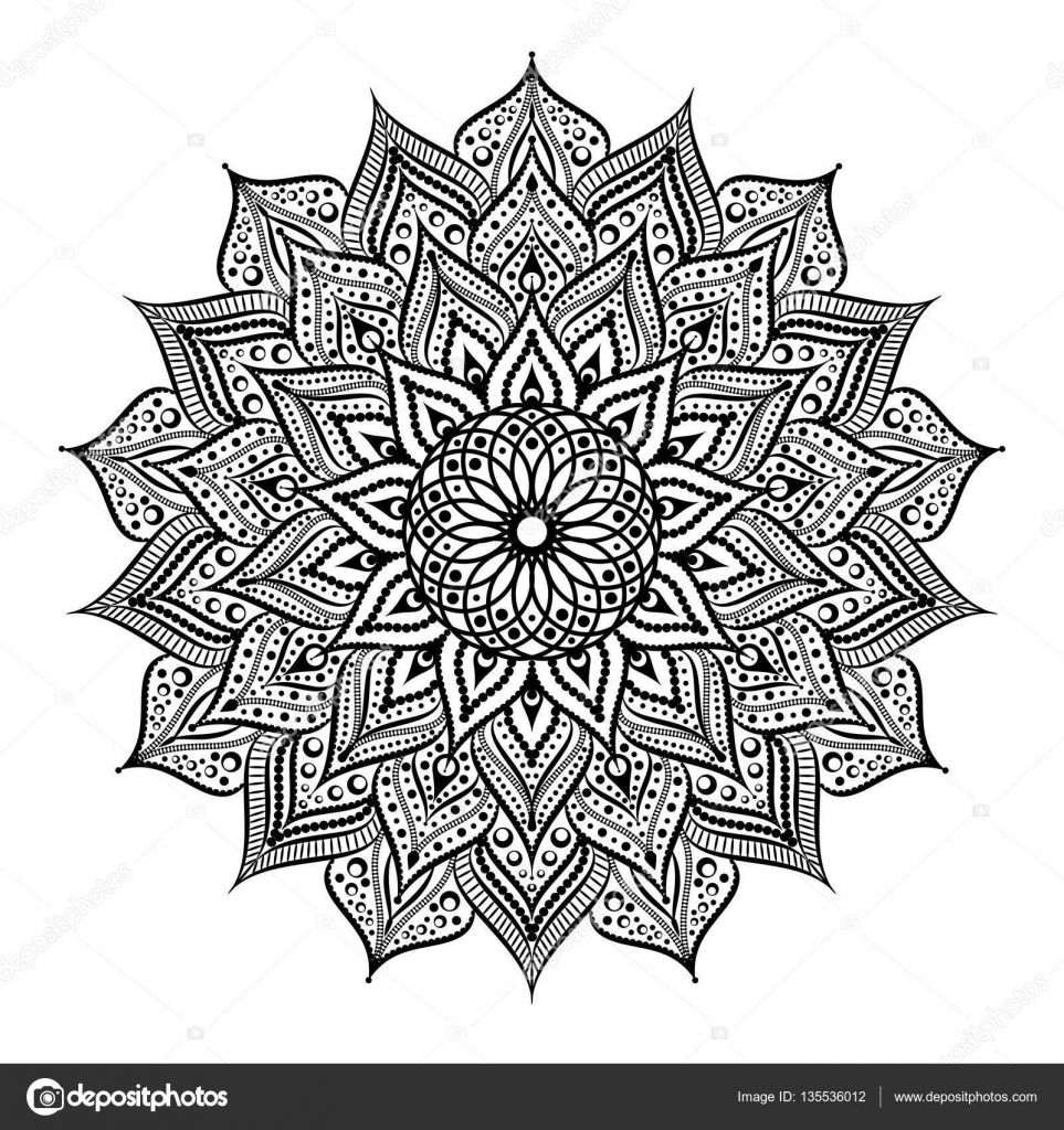 Schwarz Wei 223 Runden Kreis Lace Muster Mandala Vektor