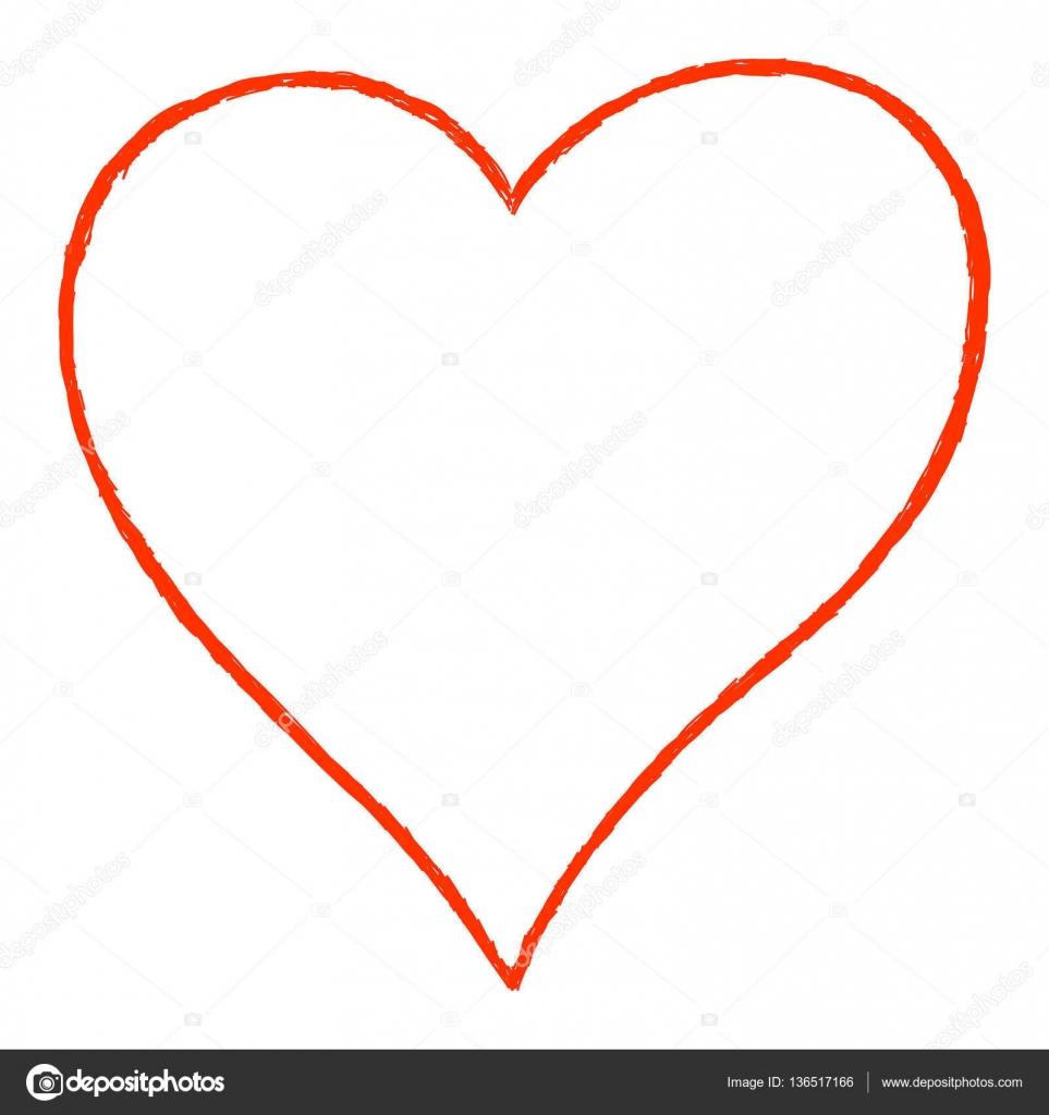 Contorno De Desenho De Linha Do Coração Vermelho