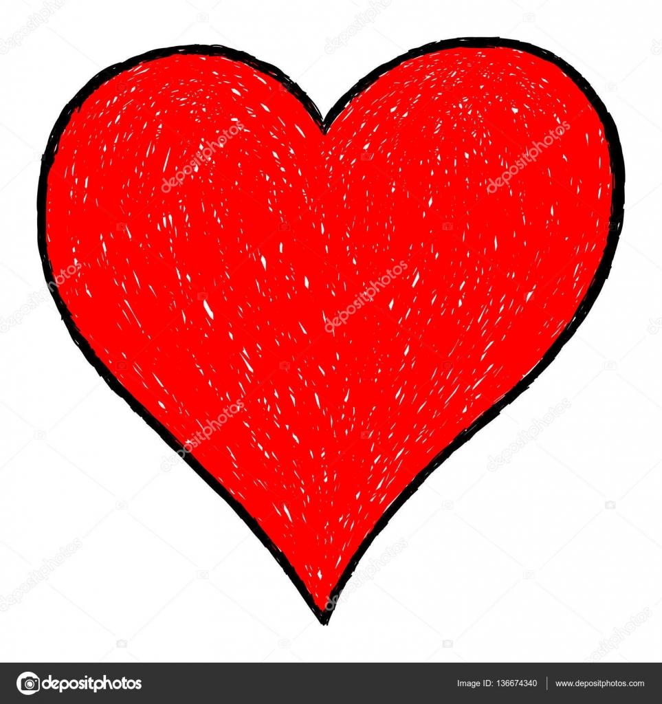 Dessin De Coeur Rouge Avec Contour Noir Image Vectorielle