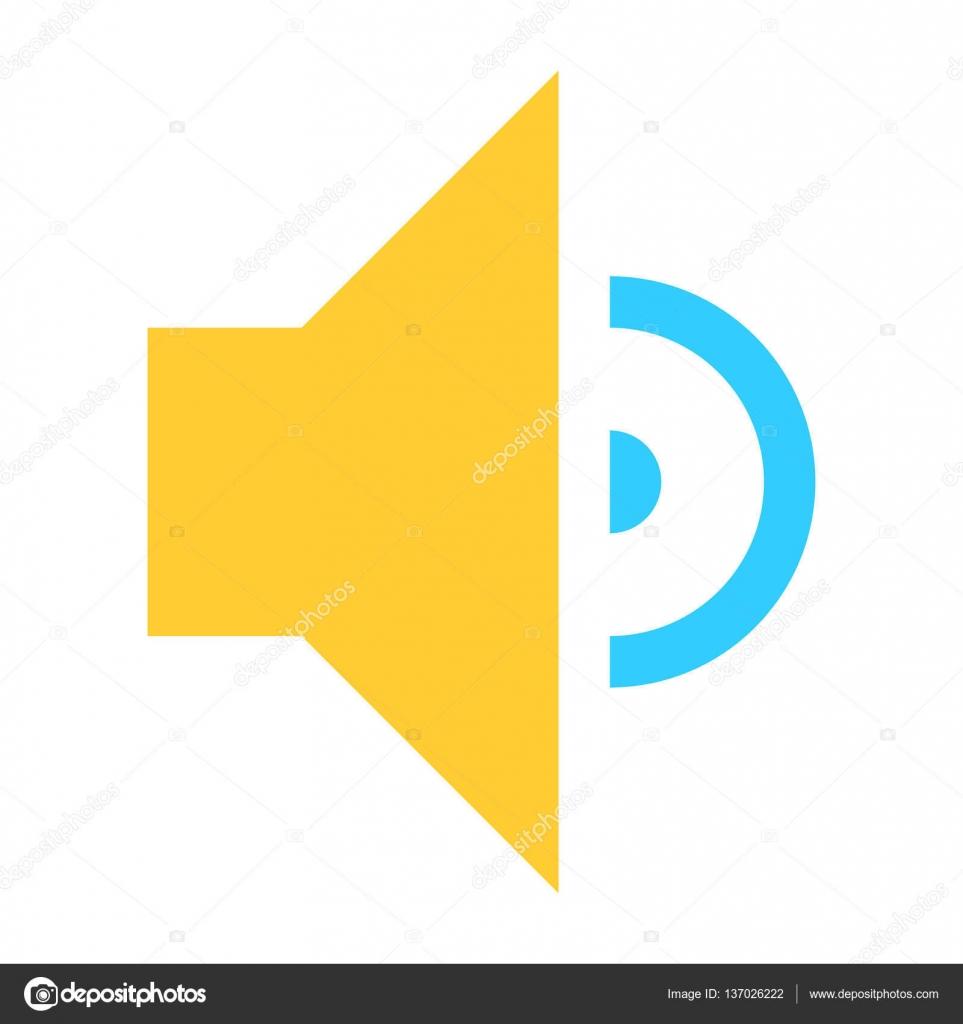 Flache mittlere Symbol Lautsprecher Zeichen Lautsprecher ...