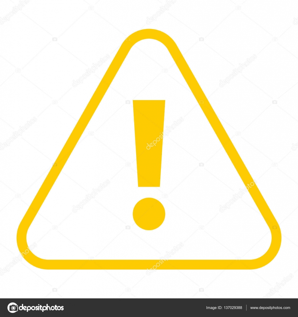 Yellow triangle exclamation mark icon warning sign ...