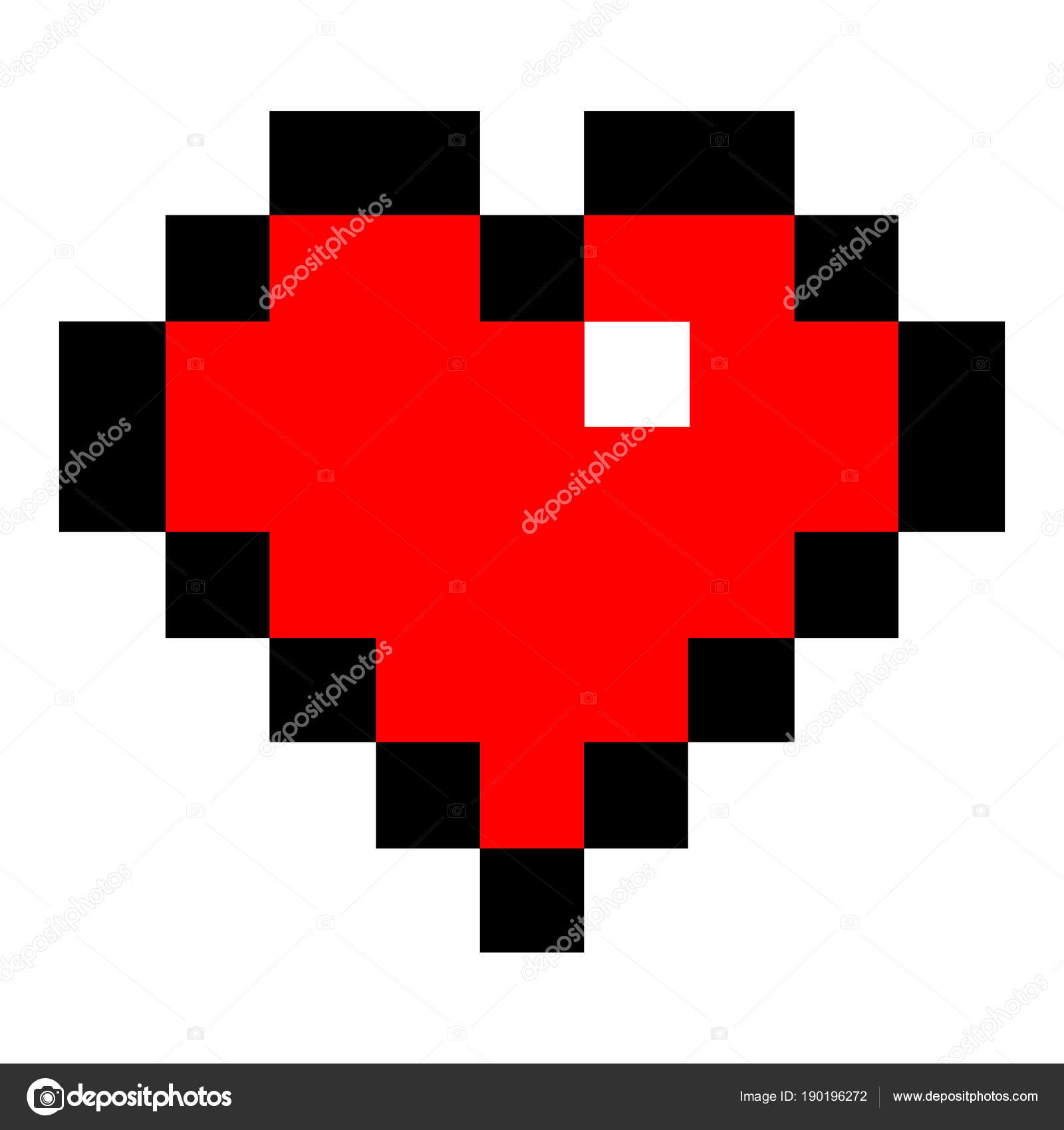 Red Heart In Pixel Art Style Stock Vector C Ifeelgood 190196272