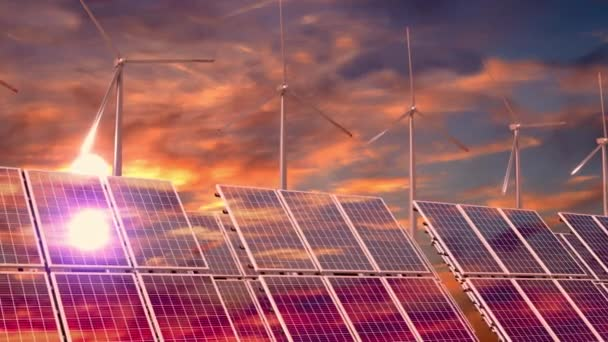 Solární panely, větrné turbíny, západ slunce obloha - 3D 4k animace