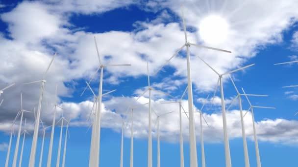 Větrné turbíny - koncept obnovitelné energie - 3D 4k animace