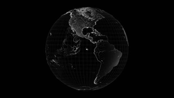 3D 4k rotující obrys Země - na černém pozadí. Prvky tohoto snímku poskytla Nasa