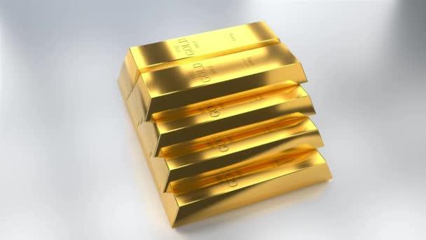 Zlaté ingoty - koncept pokladu / bohatství - 4k 3D animace