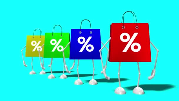 3D 4k four cartoon shopping bags with percent signs - sale/ discount concept