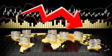 Financial crisis chart - 3D illustration