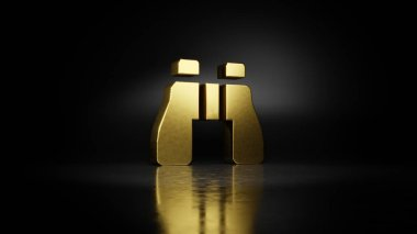 gold metal symbol of binoculars 3D rendering with blurry reflection on floor with dark background