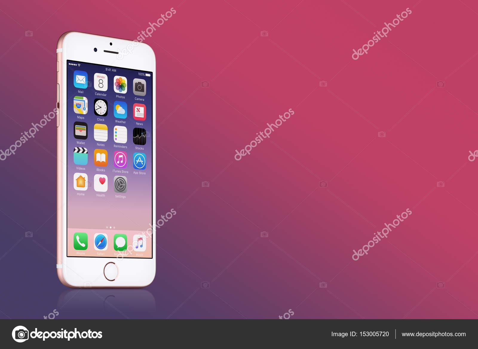Rose Gold Apple Iphone 7 Con Ios 10 Sullo Schermo Su Sfondo Rosa
