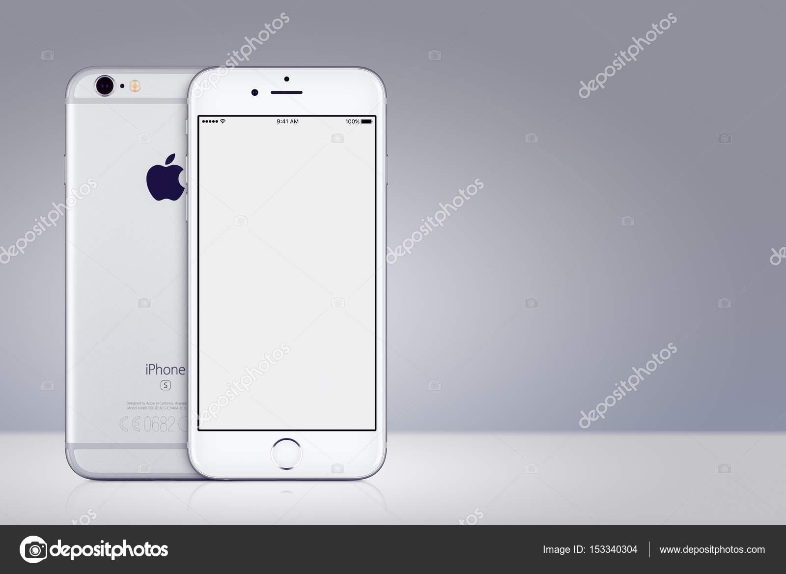 Mockup Di Iphone 7 Apple Argento Fronte E Retro Su Sfondo Grigio Con