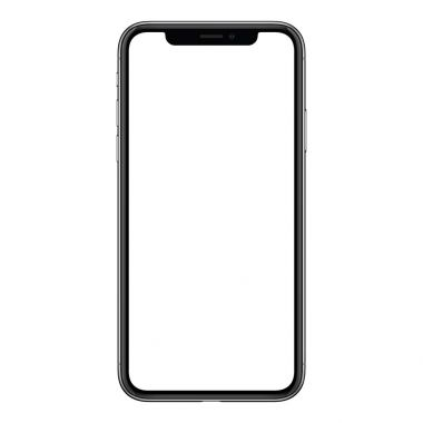 New modern frameless smartphone mockup similar to iPhone X with white screen isolated on white background