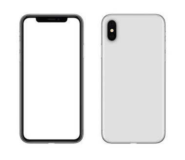 New modern white smartphone mockup similar to iPhone X front and back sides isolated on white background