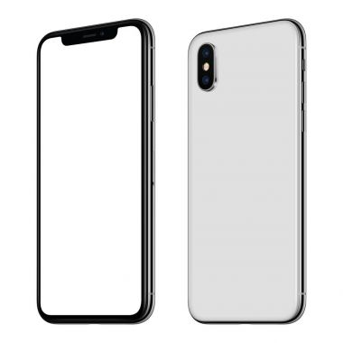 New white smartphone mockup similar to iPhone X front and back sides CW rotated isolated on white background