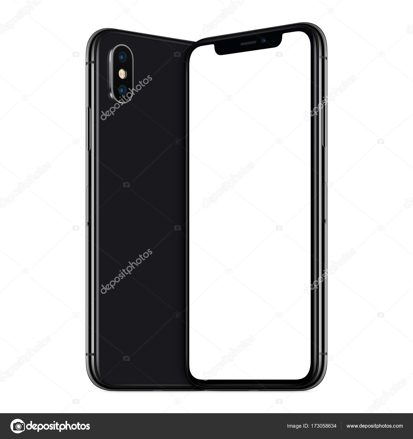 super popular f49c4 b3237 Black turned smartphones similar to iPhone X mockup front and back ...