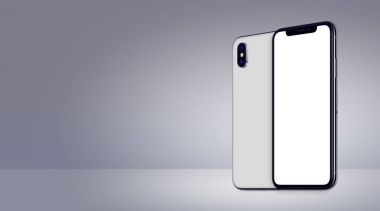 White rotated smartphones mockup similar to iPhone X front and back sides on gray background banner with copy space