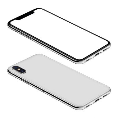 White smartphone similar to iPhone X mockup front and back sides isometric view CCW rotated lies on surface