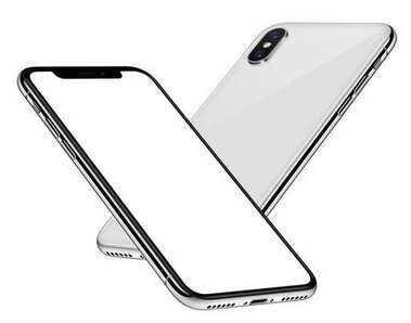 White smartphones mockup similar to iPhone X soaring in the air back side behind front side with white screen