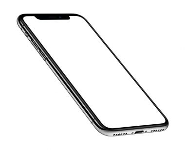 iPhone X. Perspective view isometric smartphone mockup front side CW rotated similar to iPhone X