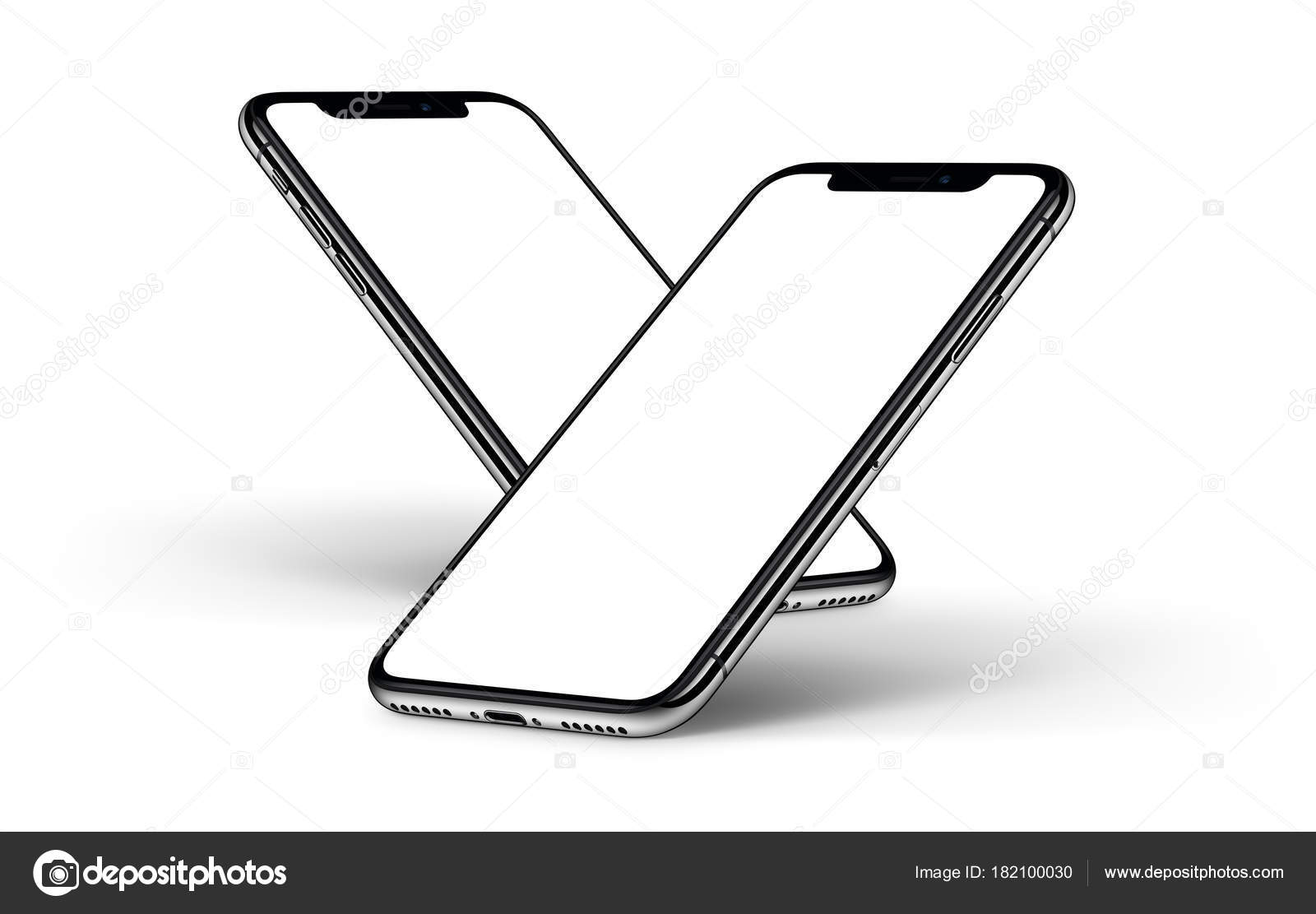 Iphone X Smartphones Mockup One Behind The Other Front Side With White Screen Stock Photo C Alexey Boldin 182100030