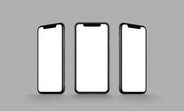 iPhone X style smartphone multi screen mockup on gray background