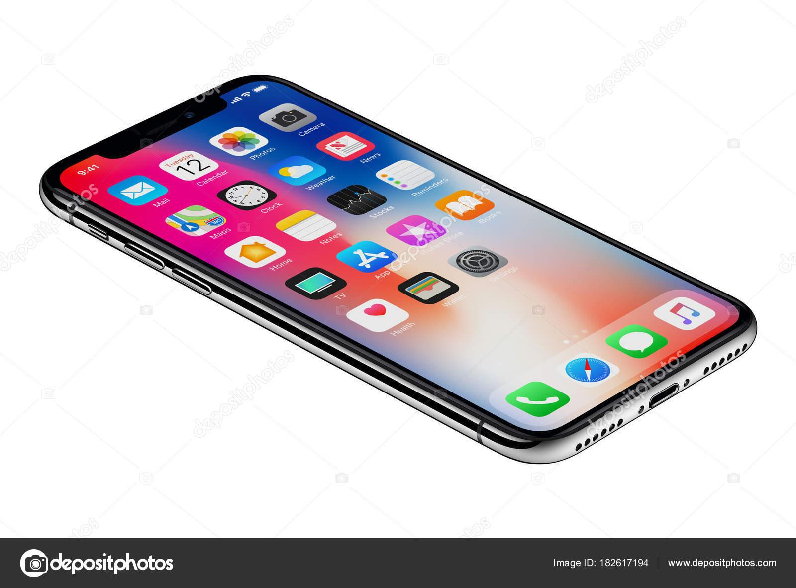 Perspectiva ve el nuevo iphone de Apple X smartphone aislado sobre ...